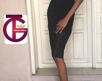 Farrah tie straps little black dress with pleated bottom