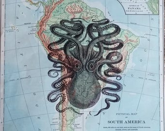 Old Book Page Art - Old Map of South America- Octopus- Nautical