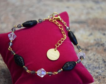 Exclusive Crystal beads Golden bracelet ladies