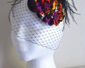 Multi Colored Fascinator Hat With Black Veil and Feathers