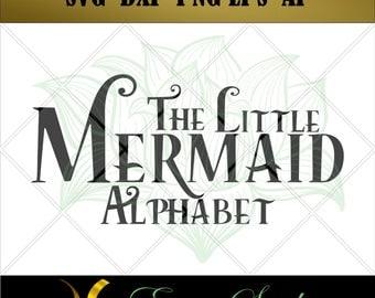 The Little Mermaid svg, Studio font,Letter svg, Numbers svg, files for cricut,svg files,Cricut Downloads, Digital Download, Instant Download