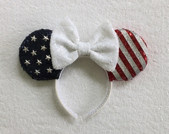 Patriotic Minnie Mouse Sequin Ears Mickey Mouse 4th of July Sequin Ears