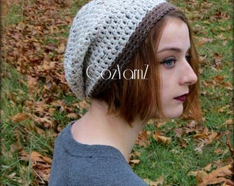 Slouch beanie, women's beanie, slouch hat, handmade beanie, crochet hat, cream hat, brown hat, slouchy hat, gifts for her