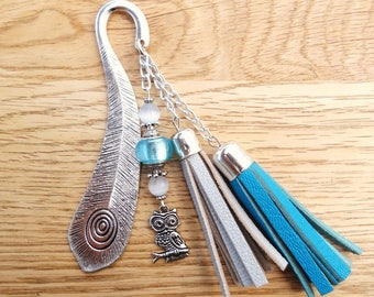 Original bookmark in metal and blue leather with OWL charm