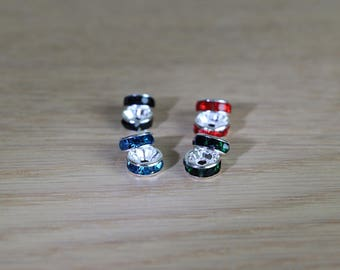 Rondelle space beads - Swarovski style - 7 mm - 4 pcs