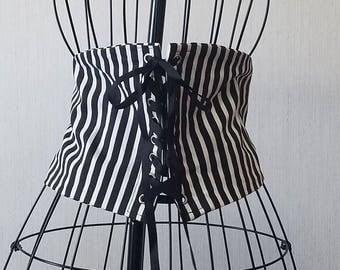 Black and White Stripe Waist Cincher