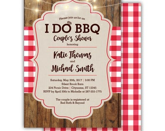 I Do BBQ Couple's Shower Invitation | Wedding | Barbeque | Picnic | Cookout | Plaid | Wood | Rustic