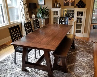Farmhouse Table, Solid Wood, Farmhouse Dining Table, Farmhouse Kitchen Table,  Harvest Table