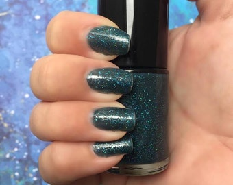 Primordial Soup - Dark Teal Jelly Nail Polish with Scattered Blue Holographic Glitter