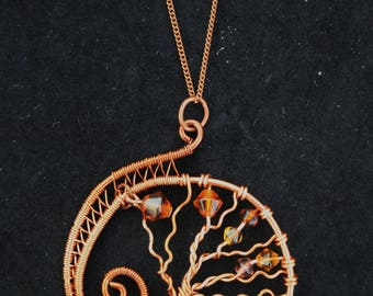 Yggddrasil Tree of Life Copper and Glass Pendant