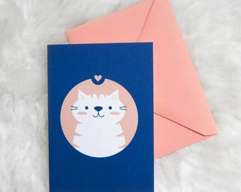 Cat Love Greeting Card (kitty, kitten, heart, cat-lady, thinking of you, love you card, cat stationery)