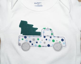 Christmas Tree in a Pickup Truck 12 Month Bodysuit