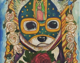 Art Print / Luchador Chihuahua / Animal Art / Dog Painting/ Wall Art / Birthday Gift / Humor Art / Wrestling Art