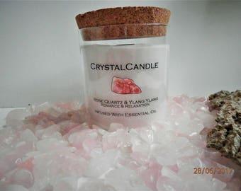 Crystal Candle Rose quartz and Ylang Ylang healing Reiki spiritual candle meditation candle Active