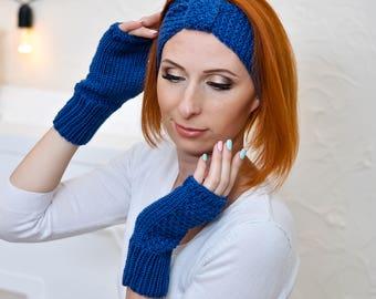 Warm headband Blue gift for wife gift Winter accessories headbands Winter turban Blue knit headband Knitted headband Knitted ear warmer