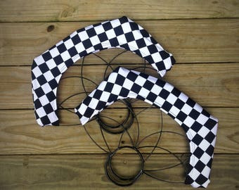 Black & White Checker Fire Fan Wick Cover for Medium Lotus Fan