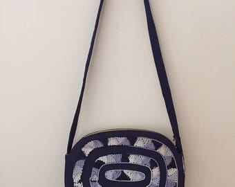 1960's Vintage Navy and White Embroidered Linen Shoulder Bag/Adjustible Strap