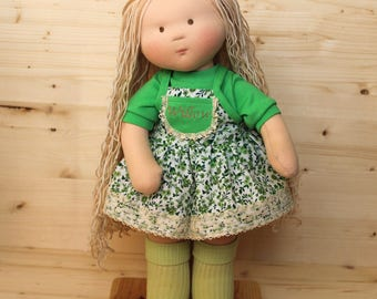 Waldorf Baby Doll Personalized Doll 18 Inch doll Wabi Sabi Doll Nature Toy Rag Doll With Blond Long Hair Doll Soft Body Doll Green Dress
