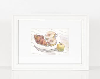 Watercolor still life with apple, pear and croissant on striped draping/ Breakfast / Original watercolor / Kitchen and living room decor