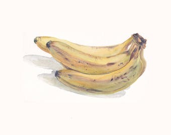 Original watercolor painting / Banana / Botanical watercolor / Small picture / Bananas on white background / Housewarming gift / Yellow