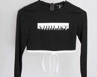 Thrifted Size - S Nihilist Typography Screen-Printed Cropped Long-Sleeve Knit Shirt Badass Black and White Edgy Streetwear College wear