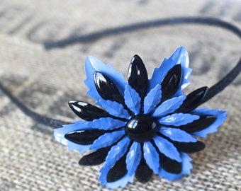 Black & Periwinkle Vintage Flower Headband