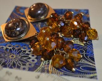 Estate Jewelry| Marble stone and brown beaded drop earrings| Vintage Clip on earrings