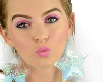 Liquid Glitter Earrings -Star - Cotton Candy
