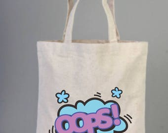 OOPS, Oops Bags, cotton bags, tote bags, cotton tote, everyday bags, cool, cool gifts, speech bubble, clip art, Oops  gifts