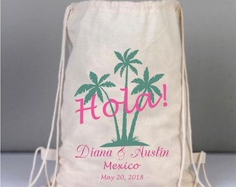 Hola Palm Destination Beach Wedding Personalized Bags, Wedding Welcome Tote, Drawstring Wedding Backpack, Mexico weddings