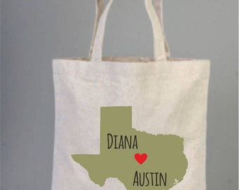 Destination State Wedding Map, Welcome Tote Bag, Destination wedding, Texas wedding, Tote bags, Cotton tote, Wedding Favor, Personalizes Bag