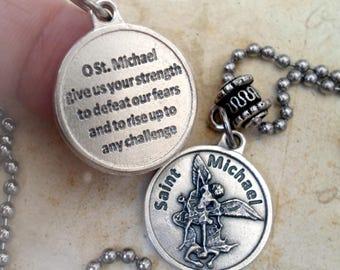 St. Michael, Defeat Fear Medal Necklace, Protection Amulet, Boys, Teens, Men, Confirmation Gift, Graduation, Archangel Michael,