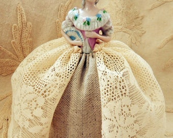Vintage 1930s Pincushion Half Doll with New Base and Skirt Made with Vintage Lace