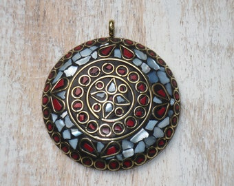 Large Nepal Mother of Pearl and Coral Round Pendant, Napal Pendant Nepalease Pendant MOP Nepal Brass Pendant