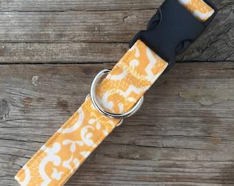 Yellow Damask Dog Collar, Custom Dog Collar, Girl Dog Collar, Boy Dog Collar, Wide Dog Collar, Yellow Dog Collar, Fabric Dog Collar
