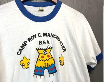 M thin vintage 80s BSA Camp Roy C Manchester Boy Scouts t shirt