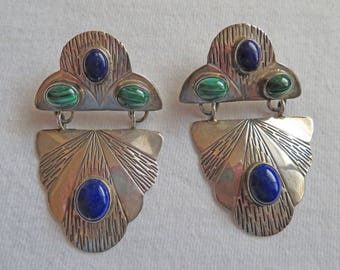 Unusual Lapis, Malachite and Sterling Silver Earrings