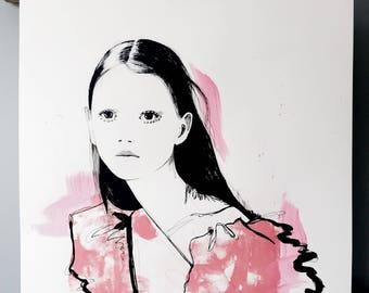 Sara Grace #1 Hand-Finished Screen Print, Fashion Illustration, Fashion Sketch, Original Art, Fashion Art, Fashion Wall Art, Fashion Gift