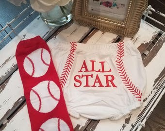 READY TO SHIP! Baseabll Diaper Cover and Leg Warmers, Baby Boy, Baby Girl, Baseball, Bloomers, Red and White