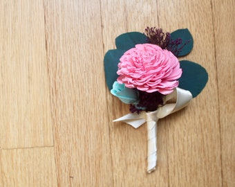 Pink Sola Boutonniere, Wedding Boutonniere, Bridal Boutonniere, Sola Flower Bouquet, Boutonniere, Flower for Groom, Boutenniere, Corsage
