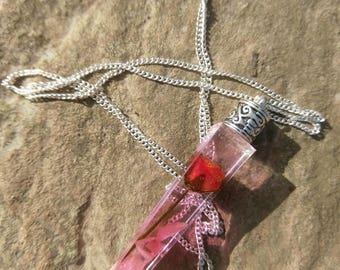 Red Rose Slim Crystal Necklace, Drowning Flower Necklace, Pink Rose, Flower Petals, Resin Jewellery