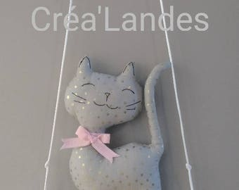 Mobile Driftwood swing cat nursery decor kids baby birth gift