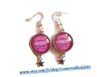 "Cabochon earrings / nanny / ""I'm a nanny who rocks!"" / Wonderland faby/party/gift/thanks/Christmas"