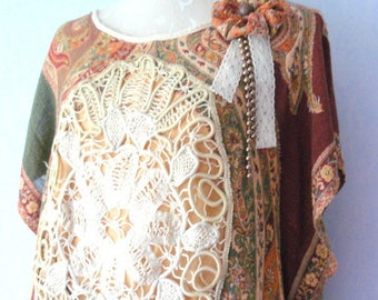 Romantic Bohemian dress, Vintage lace and fabric Paisley women one size