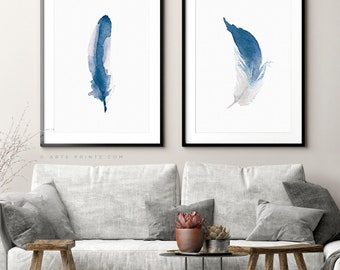 BLUE FEATHERS, Set of 2 Feathers, Watercolor Feathers, Indigo Home Decor, Feathers Printable, Watercolor Painting Art, Digital Download
