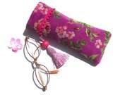Etui à lunettes bohème, étui molletonné fleuri, pochette velours rose, avec pompon, cadeau fête des mères