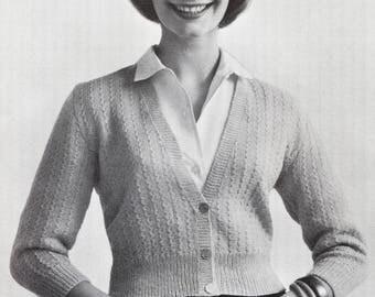 Short Button Cardigan - 1950s Knitting Pattern