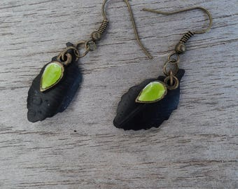 Leaf earrings in inner tube recycled and fancy earrings - dangle earrings - green sequin