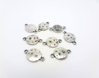10 round hammered connectors 18 * 11mm style ethnic silver metal (PHCA04)