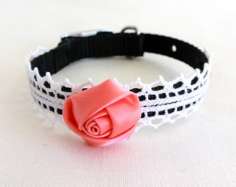 Collar, dog, Shabby chic, black, pink, lace